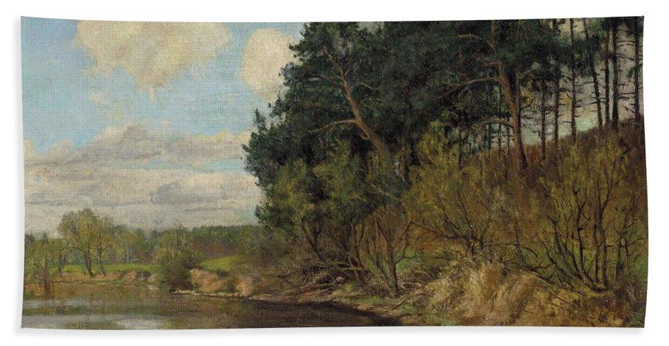 Emil Orlik.lakeland In Berlin Beach Towel featuring the painting Lakeland In Berlin by Emil Orlik