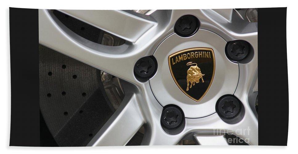 Lamborghini Beach Towel featuring the photograph Lambowheel8679 by Gary Gingrich Galleries
