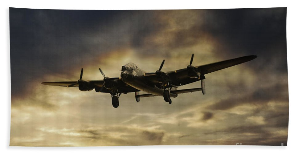 Lancaster Bomber Beach Towel featuring the digital art Lancaster Spirit by J Biggadike
