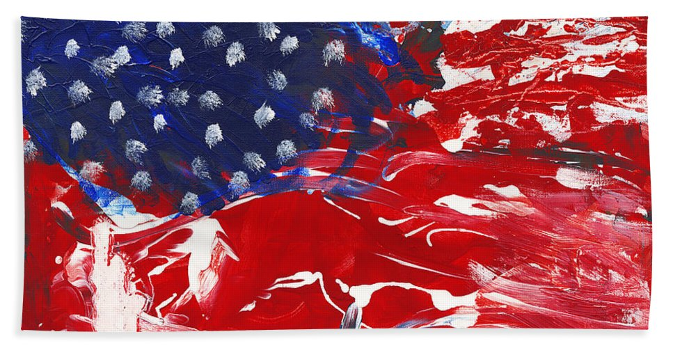 Independence Beach Towel featuring the painting Land Of Liberty by Luz Elena Aponte