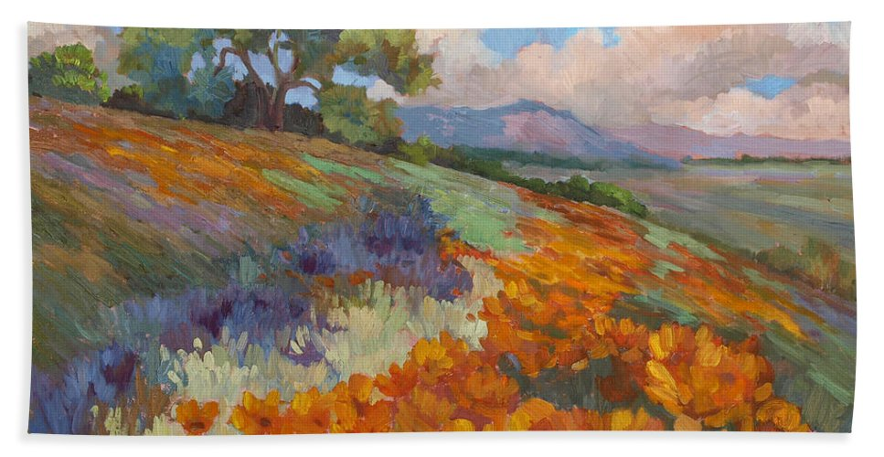 California Poppies Beach Towel featuring the painting Land Of Sunshine by Diane McClary