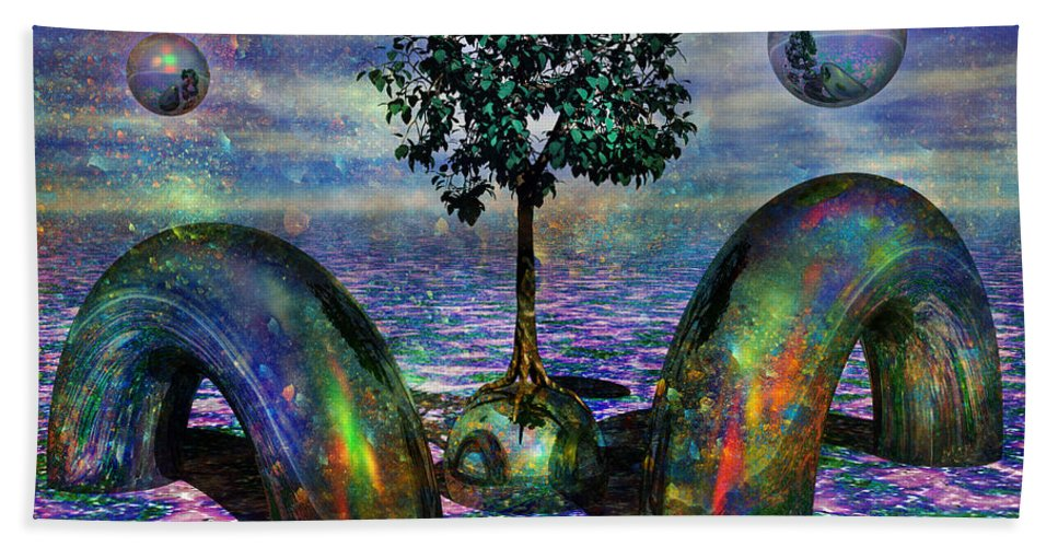 Fantasy Beach Towel featuring the digital art Land Of World 8624028 by Betsy Knapp