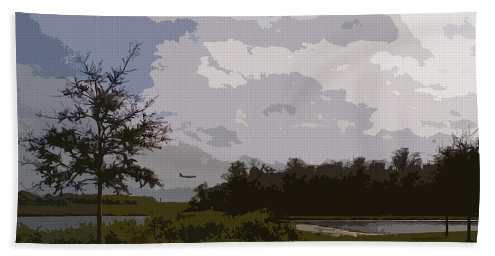 Plane Beach Towel featuring the photograph Landing Beyond The Trees by George Pedro