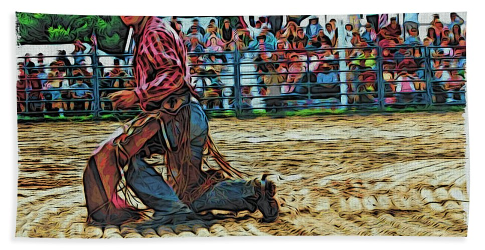 Bullrider Beach Towel featuring the photograph Landing Like A Cat by Alice Gipson