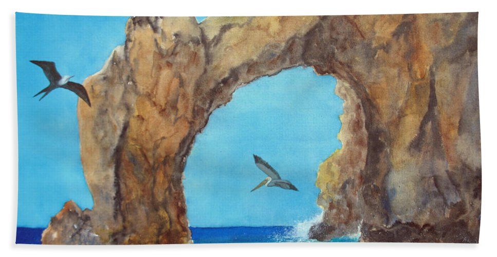 Lands End Beach Towel featuring the painting Lands End by Patricia Beebe
