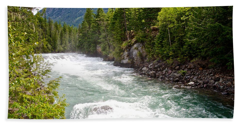 Landscape Beach Towel featuring the photograph Landscape Of Mcdonald Creek Upstream In Spring In Glacier Np-mt by Ruth Hager