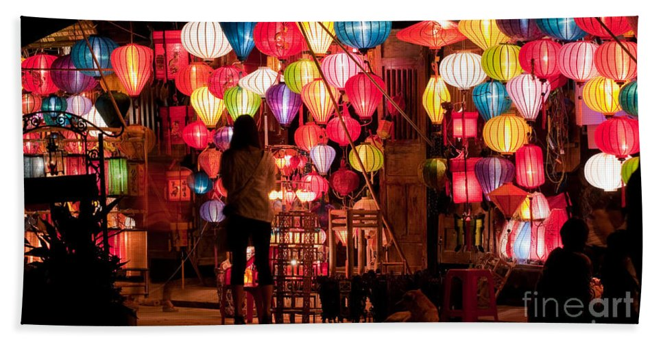 Vietnam Beach Towel featuring the photograph Lantern Stall 01 by Rick Piper Photography