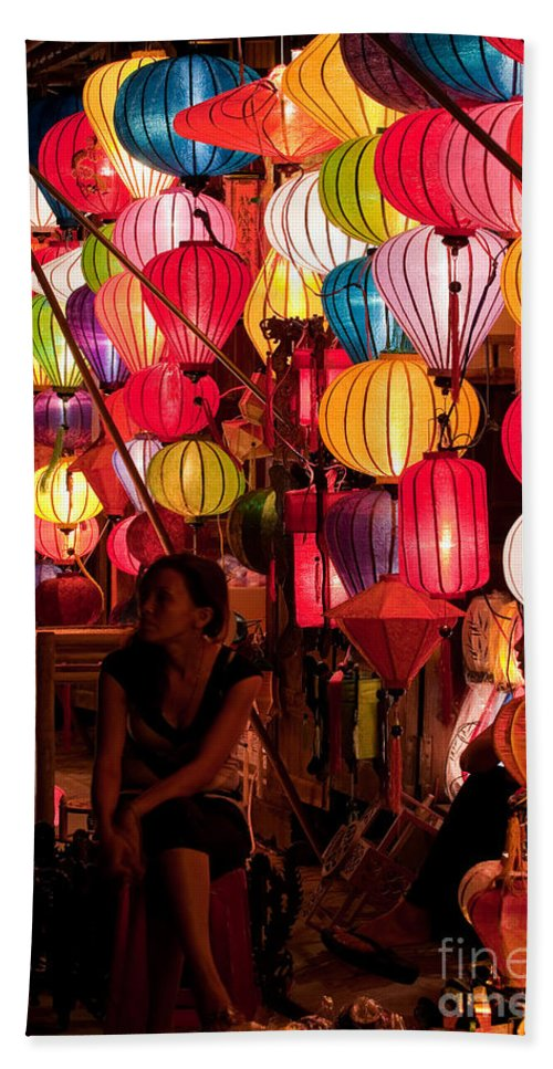 Vietnam Beach Towel featuring the photograph Lantern Stall 02 by Rick Piper Photography