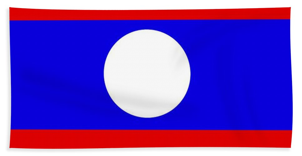 Laos Beach Towel featuring the digital art Laos Flag by Frederick Holiday