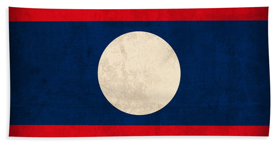 Laos Beach Towel featuring the mixed media Laos Flag Vintage Distressed Finish by Design Turnpike