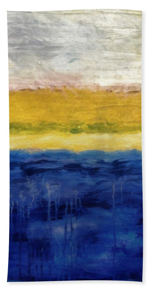 Oceanside Beach Towel featuring the painting Lapis And Gold Get Married by Michelle Calkins