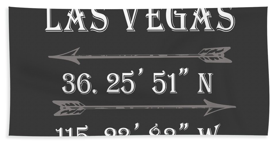 Las Vegas Beach Towel featuring the digital art Las Vegas Coordinates by Voros Edit