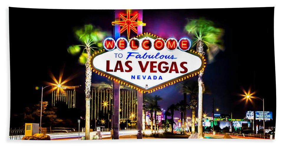Las Vegas Beach Towel featuring the photograph Las Vegas Sign by Az Jackson