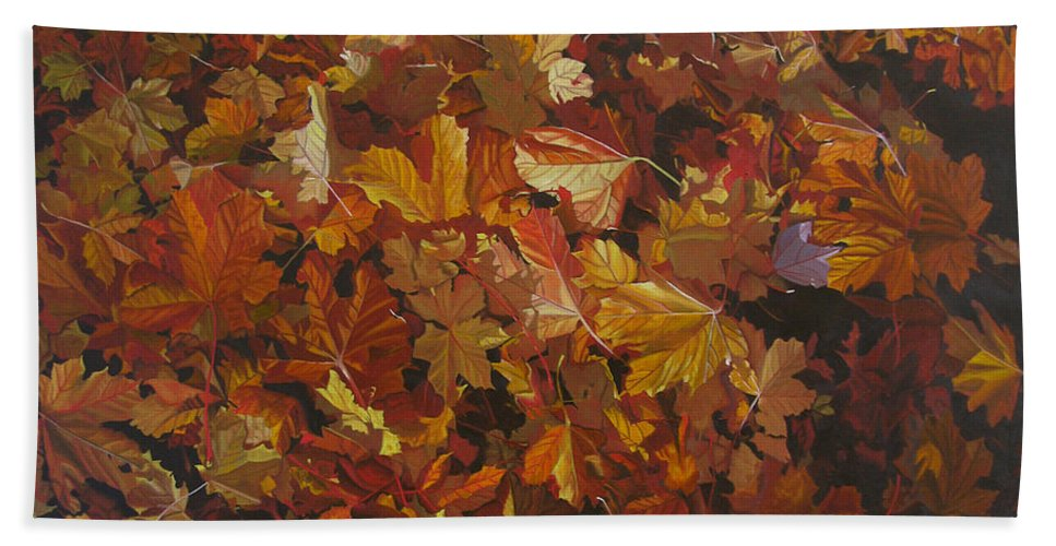 Fall Beach Towel featuring the painting Last Fall in Monroe by Thu Nguyen