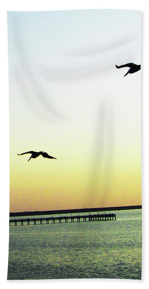 Pelicans Beach Towel featuring the digital art Last Flight Of The Day by Lizi Beard-Ward