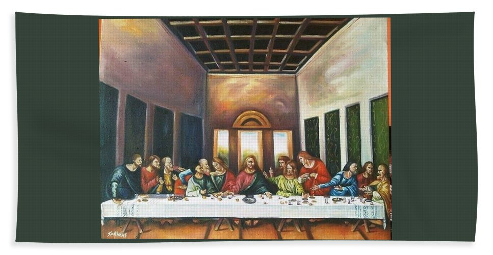 Painting Beach Towel featuring the painting Last Supper by Olaoluwa Smith