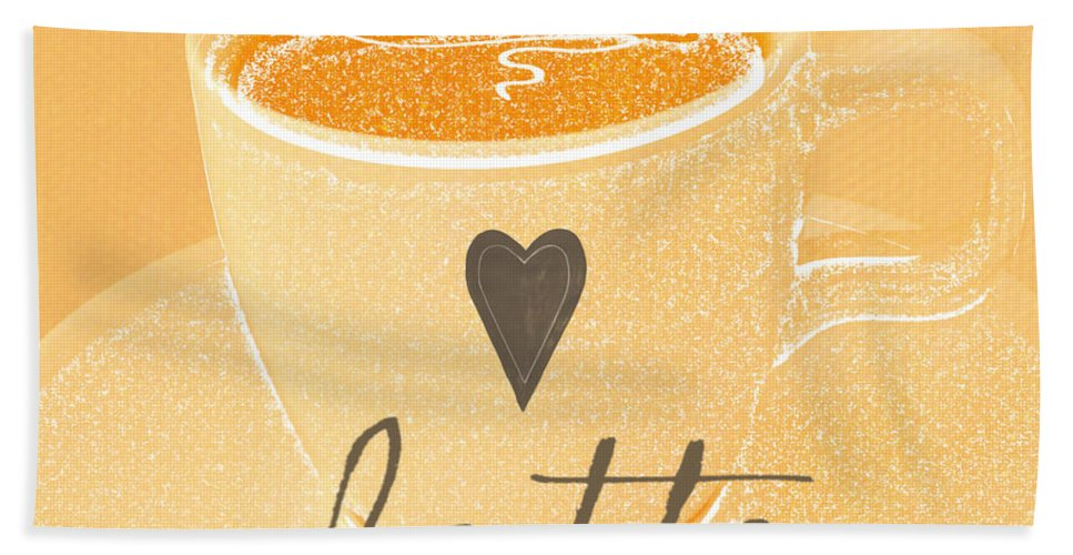 Latte Beach Towel featuring the painting Latte Love In Orange And White by Linda Woods
