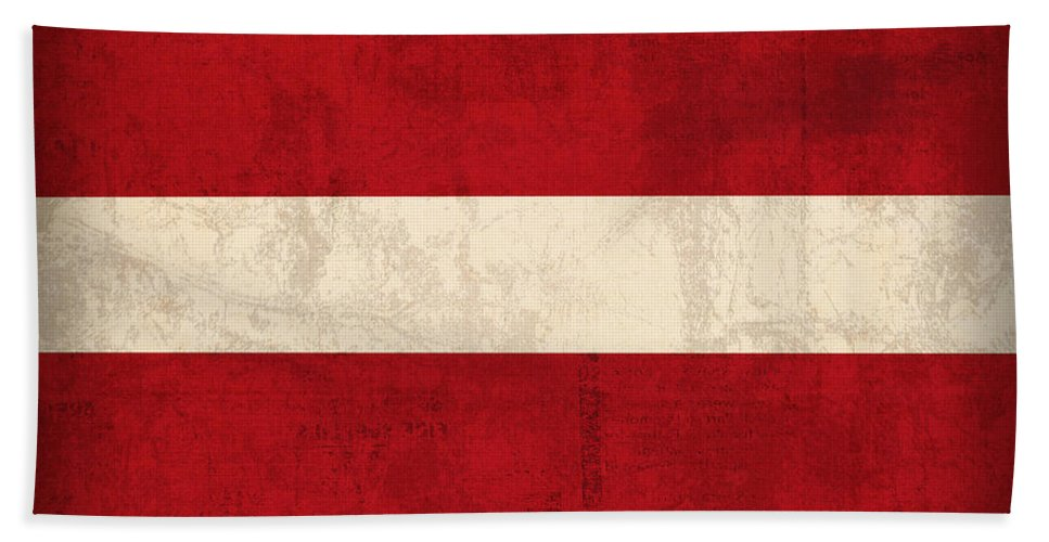 Latvia Beach Towel featuring the mixed media Latvia Flag Vintage Distressed Finish by Design Turnpike