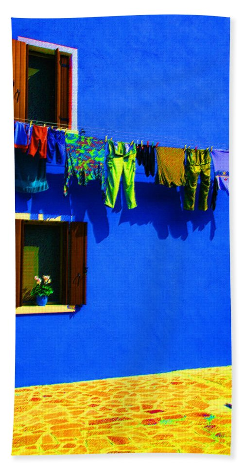 Italy Beach Towel featuring the digital art Laundry Between The Windows by Donna Corless