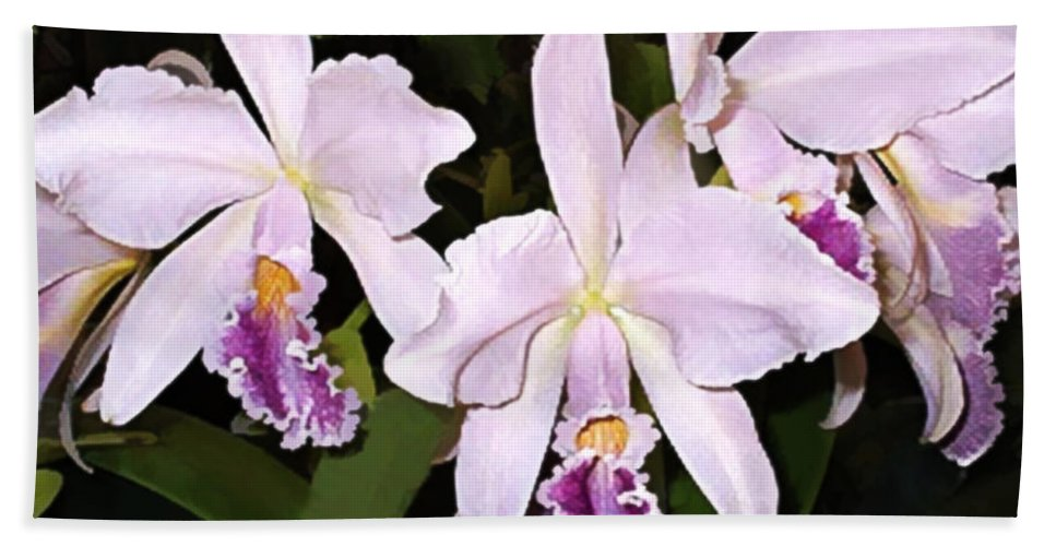 Orchid Beach Towel featuring the painting Lavender Cattleya Orchids by Elaine Plesser