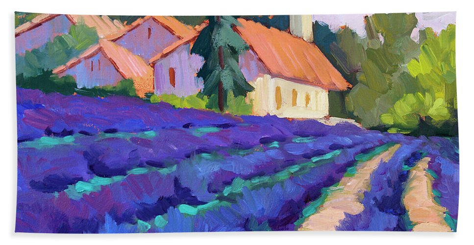 Lavender Field Beach Towel featuring the painting Lavender Field In St. Columne by Diane McClary