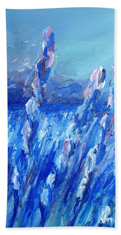 Lavender Beach Towel featuring the painting Lavender Field Landscape by Eric Schiabor