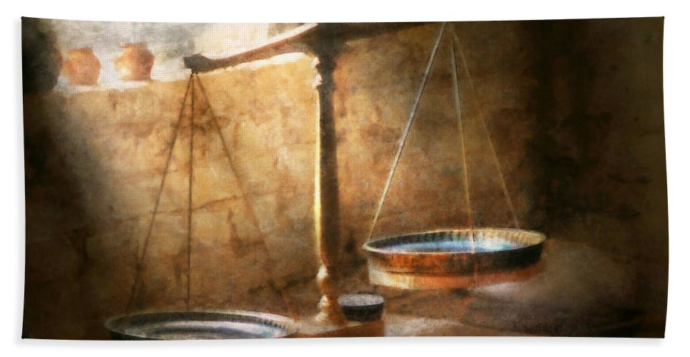 Lawyer Beach Towel featuring the photograph Lawyer - Scale - Balanced Law by Mike Savad