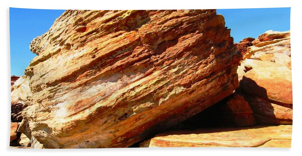 Broome Beach Towel featuring the photograph Layered Broome Rock by Vickie Roy-Sneddon