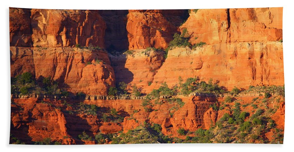 Red Rocks Beach Towel featuring the photograph Layers Of Red Rock by Carol Groenen