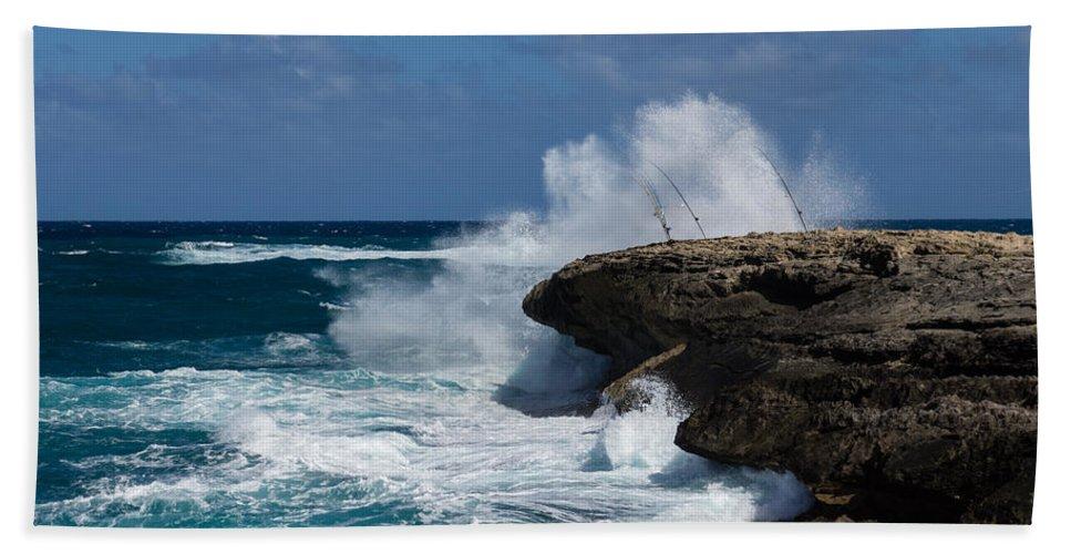Fishing Beach Towel featuring the photograph Lazy Fishing From The Rocks - No Fishermen by Georgia Mizuleva