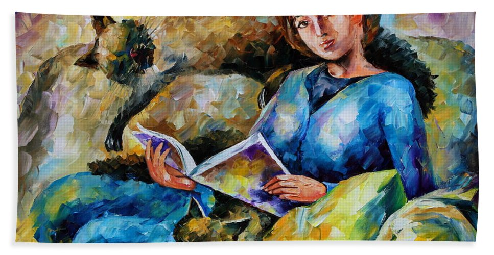 Cat Beach Towel featuring the painting Lazy Time by Leonid Afremov
