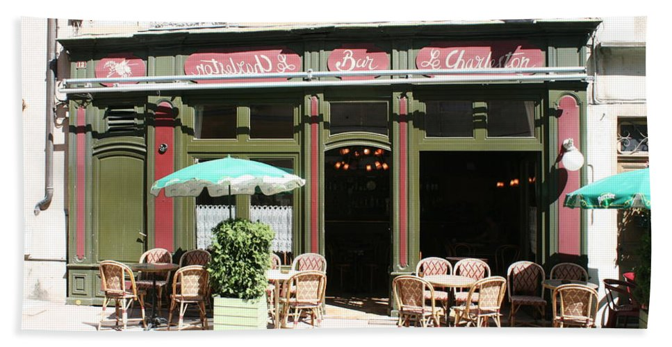 Bistro Beach Towel featuring the photograph Le Charleston Bar In Tournus by Christiane Schulze Art And Photography
