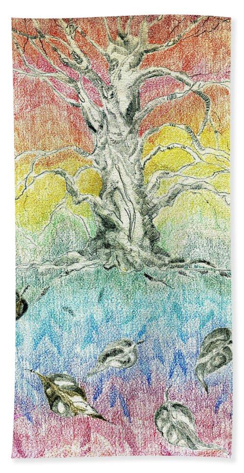 Drawing Beach Towel featuring the drawing Leaf Fall by Lizi Beard-Ward