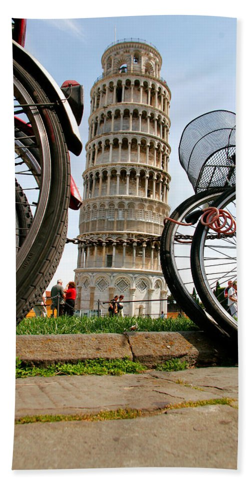 Architecture Beach Towel featuring the photograph Leaning Bicycles Of Pisa by Peter Tellone