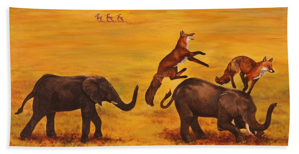 Fox Beach Towel featuring the painting Leap Frog by Michelle Miron-Rebbe