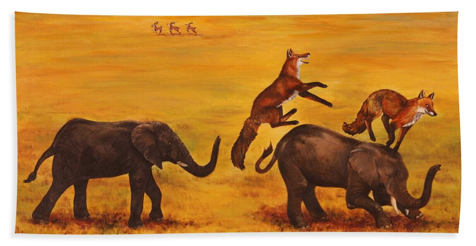 Fox Beach Sheet featuring the painting Leap Frog by Michelle Miron-Rebbe