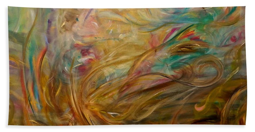 Whimsical Abstract Beach Towel featuring the painting Leaping Aloud by Sara Credito