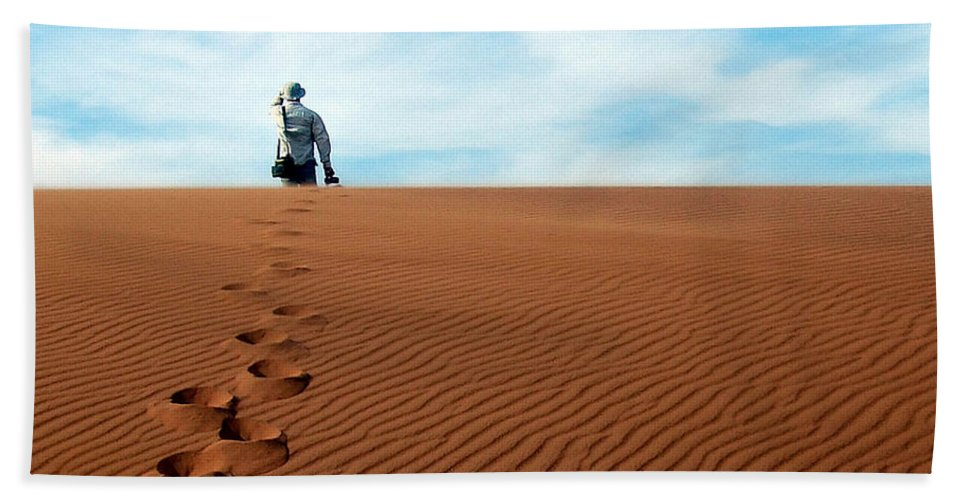 Namibia Beach Towel featuring the photograph Leave Only Footprints Behind.. by A Rey