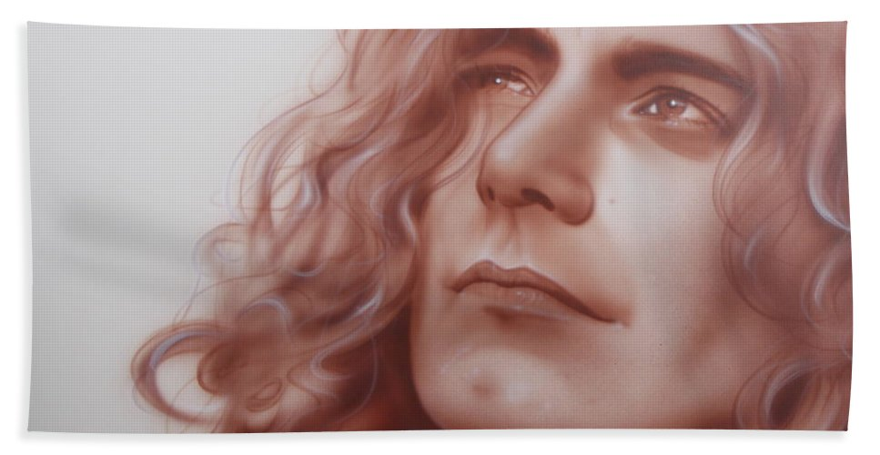 Led Zeppelin Beach Towel featuring the painting Leaves are Falling all Around by Christian Chapman Art