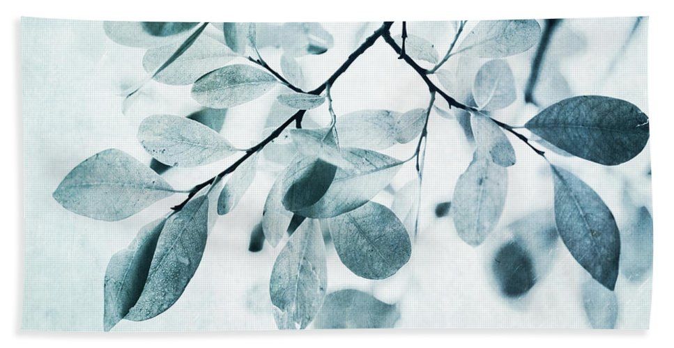 Foliage Beach Towel featuring the photograph Leaves In Dusty Blue by Priska Wettstein
