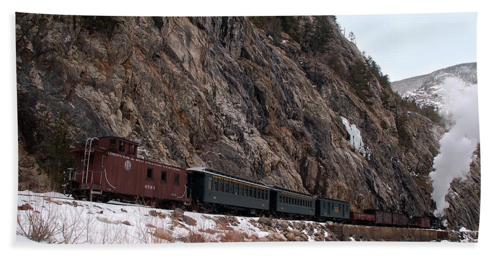 Steam Train Beach Towel featuring the photograph Leaving Cascade Canyon by Ken Smith