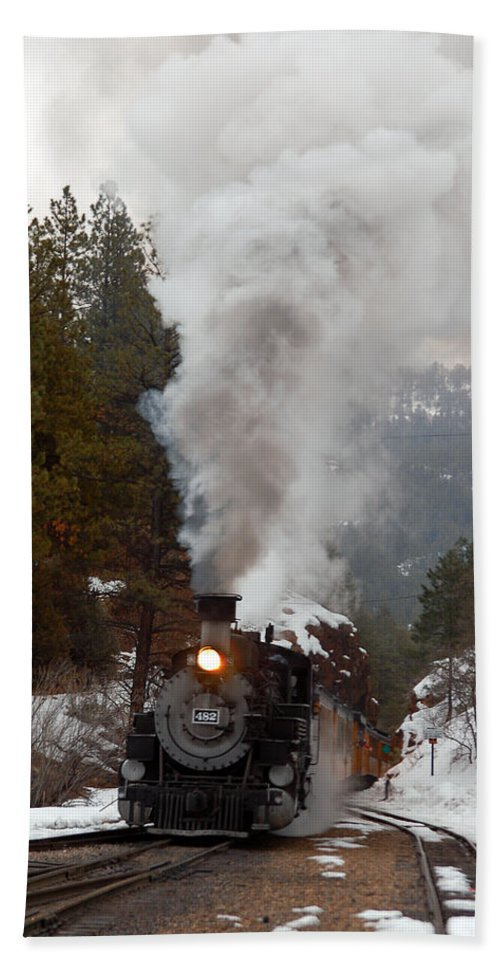 Steam Train Beach Towel featuring the photograph Leaving The Rockwood Cut by Ken Smith