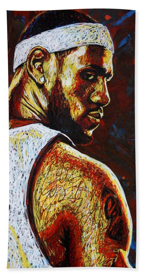 Lebron Beach Towel featuring the painting Lebron by Maria Arango