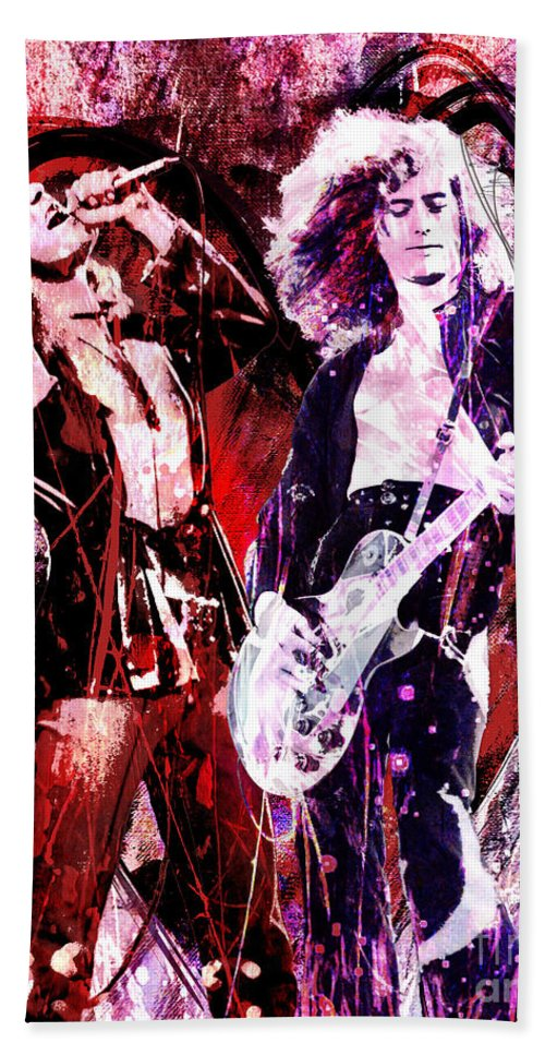 Art Beach Towel featuring the painting Led Zeppelin - Jimmy Page and Robert Plant by Ryan Rock Artist