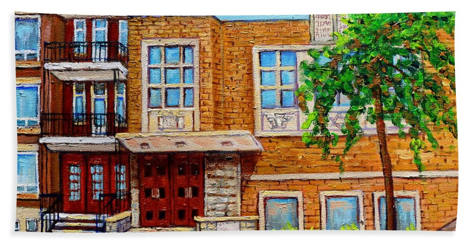 Montreal Beach Towel featuring the painting Legare And Hutchison Synagogue Montreal by Carole Spandau