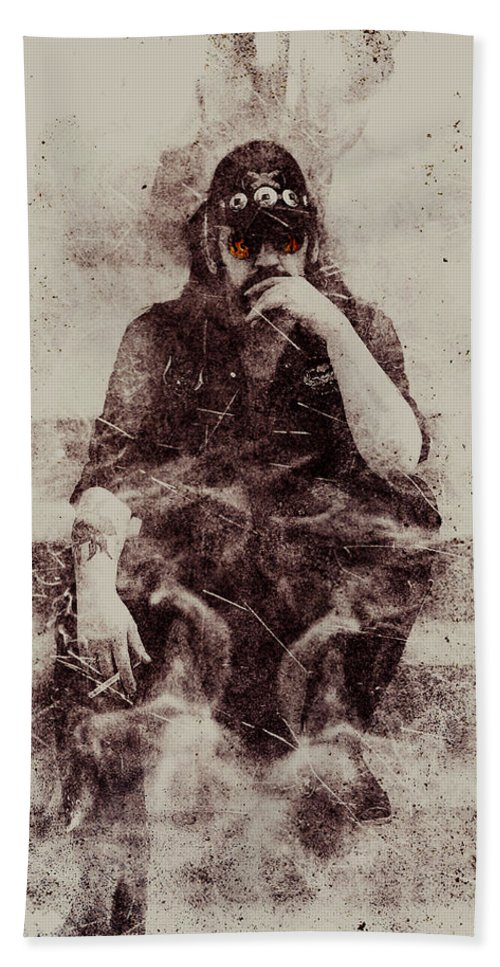 Lemmy Beach Towel featuring the mixed media Lemmy by Jarno Lahti