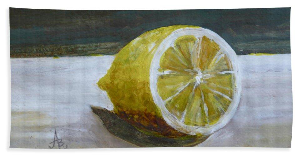 Lemon Beach Towel featuring the painting Lemon by Anna Ruzsan