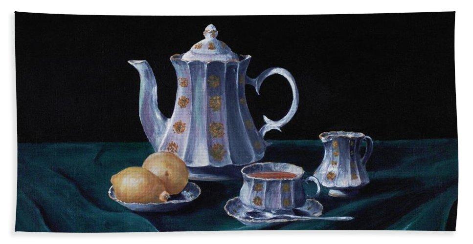 Cup Beach Towel featuring the painting Lemons And Tea by Anastasiya Malakhova
