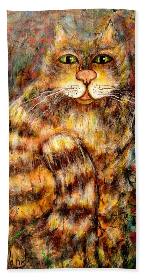 Leo Beach Towel featuring the painting LEO by Natalie Holland