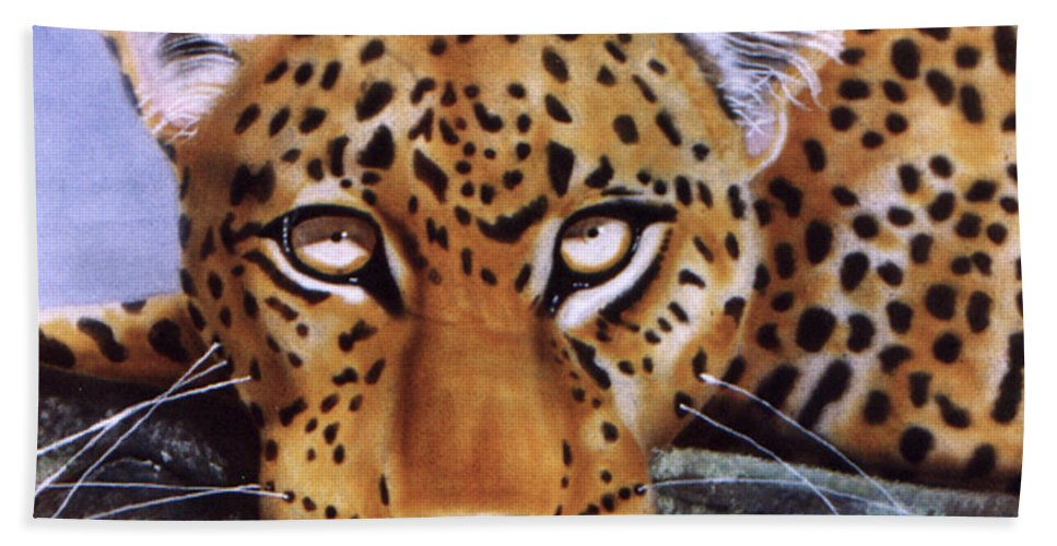 Leopard Beach Towel featuring the painting Leopard In A Tree by Thomas J Herring